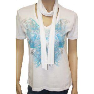 Cpm Damen T-Shirt  mit Schal  ½ Arm , 402009