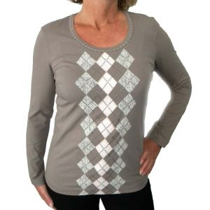 Delmod Damen T-Shirt, mit Rautenmuster